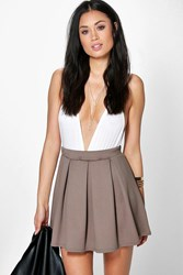 Boohoo Solid Colour Box Pleat Skater Skirt Mocha