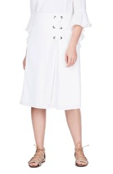 Elvi Plus Size Women's Lace Up Skirt White