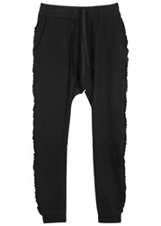 Blood Brother Black Frayed Cotton Jogging Trousers