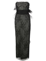 Marchesa Chantilly Lace Tube Gown Black