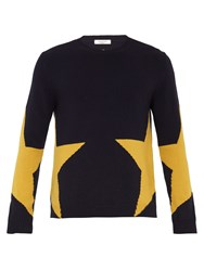 Valentino Star Intarsia Wool And Cashmere Blend Sweater Navy Multi