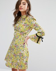 Miss Selfridge High Neck Tie Sleeve Floral Tea Dress Chartreuse Floral Green