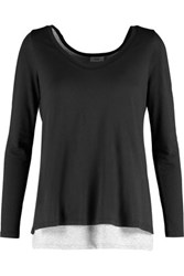 Vince Two Tone Layered Pima Cotton And Modal Blend Top Black