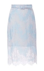 Carven High Waisted Lace Skirt Blue