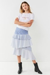 Urban Outfitters Uo Laura Tiered Ruffle Midi Skirt Blue