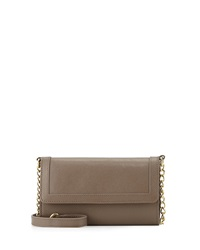 Neiman Marcus Leather Cell Phone Crossbody Bag Taupe
