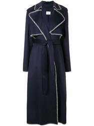 Khaite Stitch Detail Trench Coat Blue