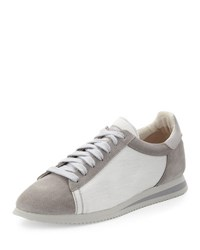 Brunello Cucinelli Men's Ares Suede And Canvas Running Sneaker Gray