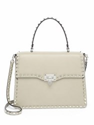 Valentino Rockstud Leather Top Handle Satchel Ivory