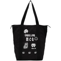 Mcq By Alexander Mcqueen Black 'Swallow' Magazine Tote