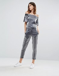 Vero Moda Slim Crop Satin Trousers Silver