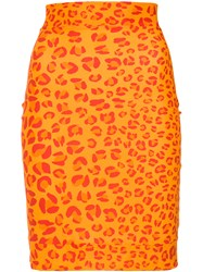Amir Slama Leopard Print Skirt Elastolefin Yellow Orange
