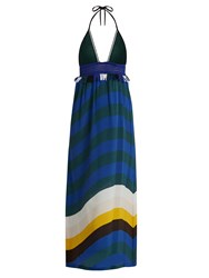 Fendi Wave Print Crochet And Silk Crepe Halterneck Dress Blue Multi