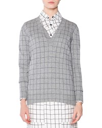 Tomas Maier Cashmere Windowpane Check V Neck Sweater Size 2 Grey Black