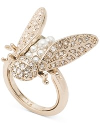Marchesa Gold Tone Crystal And Imitation Pearl Garden Ring