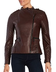 Vince Camuto Leather Front Zip Moto Jacket Burgundy