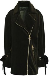 Mother Of Pearl Asymmetric Cotton Corduroy Coat Forest Green