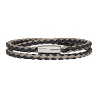 Boss Black And Grey Braided Double Wrap Bram Bracelet