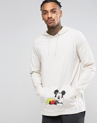 Asos Mickey Oversized Long Sleeve T Shirt With Hood And Pocket Print White
