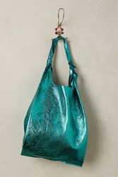 Anthropologie Reversible Pleated Leather Tote Kelly