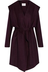 Soia And Kyo Wool Blend Hooded Coat Plum