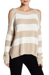 Romeo And Juliet Couture Long Sleeve Cold Shoulder Stripe Knit Sweater Beige