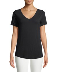 Majestic Paris For Neiman Marcus Soft Touch Short Sleeve Top Black
