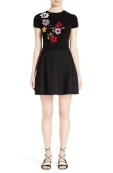 Red Valentino Women's Floral Intarsia Knit Fit And Flare Dress