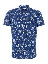 Wrangler Men's Palm Tree Printed Short Sleeve Shirt Blue