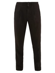120 Lino Pleated Linen Trousers Black