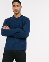 Original Penguin Cableknit Jumper In Navy