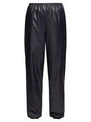 The Row Dez Gathered Waist Leather Trousers Navy