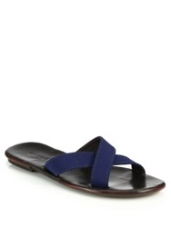 Orlebar Brown James Criss Cross Leather Sandals Navy