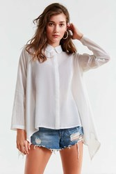 Urban Outfitters Uo Trapeze Button Down Shirt White