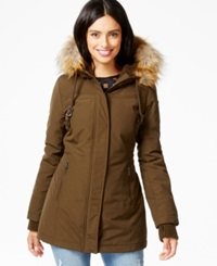 Dkny Faux Fur Trim Water Resistant Hooded Parka Olive