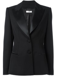 Lanvin Peaked Lapel Fitted Blazer Black