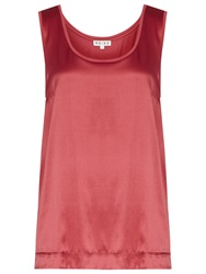 Reiss Silk Front Jersey Tank Top Peony