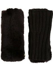 Yves Salomon Rabbit Fur Fingerless Gloves Brown