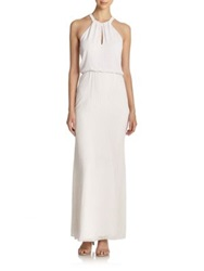 Parker Black Marceline Embellished Halter Gown White