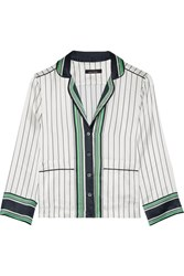 Kate Moss For Equipment Lake Striped Silk Satin Pajama Shirt White