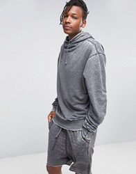 Asos Oversized Longline Funnel Neck Hoodie With Burnout Charcoal Grey