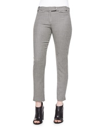 Veronica Beard Classic Houndstooth Cigarette Trousers Black White