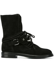 Casadei Chain Strap Ankle Boots Black