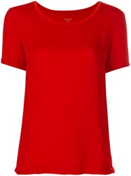 Marc Cain Round Neck T Shirt Cotton Polyester Red