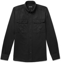 Tom Ford Slim Fit Button Down Collar Linen And Cotton Blend Shirt Black