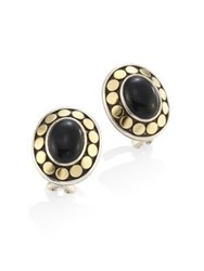John Hardy Dot Oval Black Onyx And 18K Yellow Gold Stud Earrings