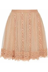 Red Valentino Lace Paneled Point D'esprit Mini Skirt Beige