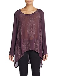 Xcvi Seraphina Embroidered Hi Lo Top Purple