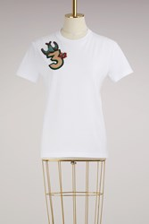 Miu Miu T Shirt With Embroidered Number White