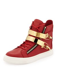 Giuseppe Zanotti Men's Ski Buckle High Top Sneaker Red